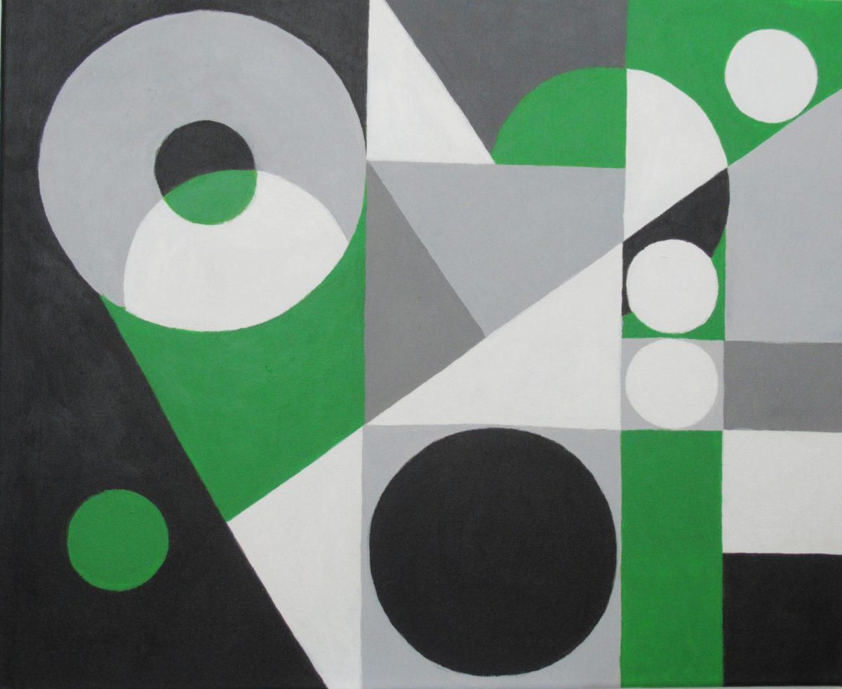Anni Sovala, Mustaa, valkoista, vihreää, 50x61, akryyli kankaalle (2020)