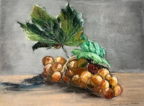 Laura Karikoski, Suojaavat lehdet, kuivapastelli, 25x32 (2020)